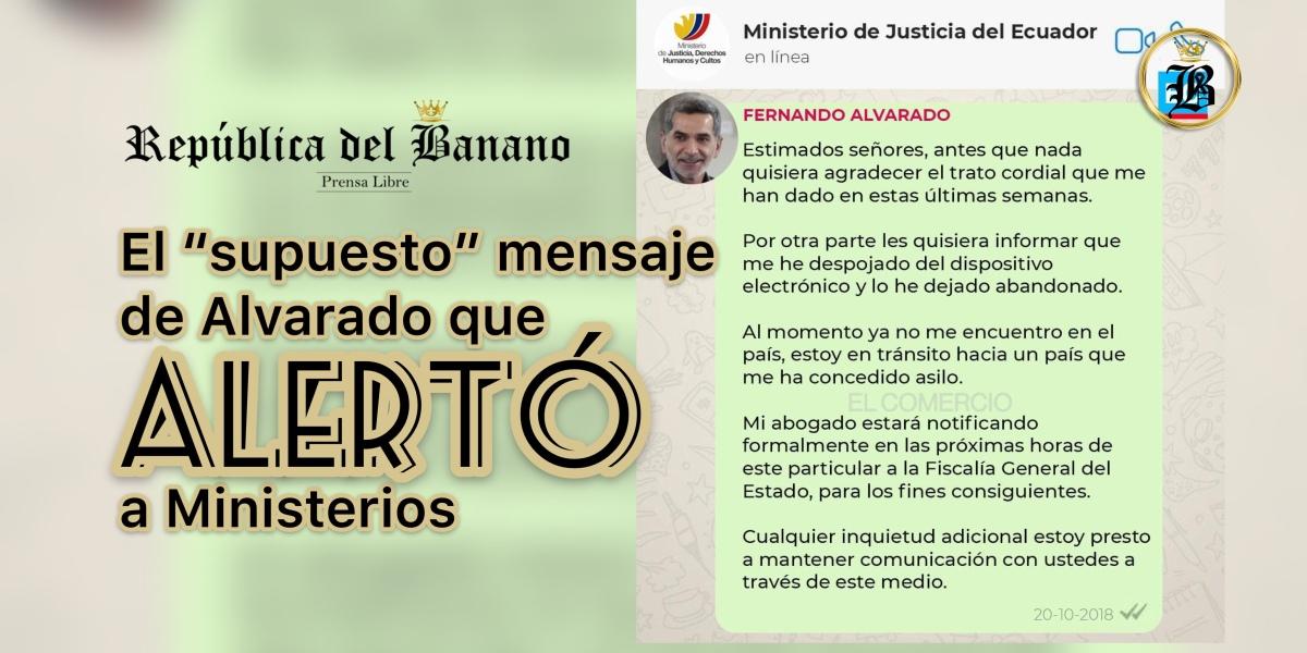 Gobierno admite que la alerta de la presunta salida del país de Alvarado se conoció por mensaje y no por grillete