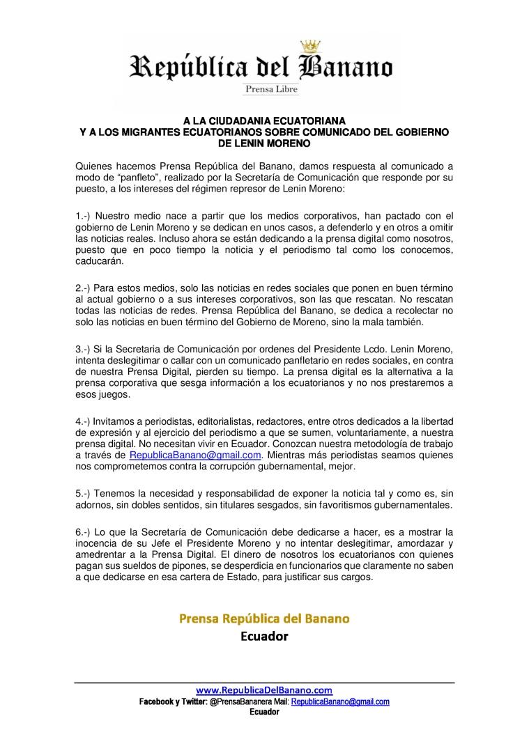 A la ciudadania ecuatoriana y los migrantes sobre el comunicado de la secretaria de Comunicación del gobierno de Moreno - Prensa Republica del Banano