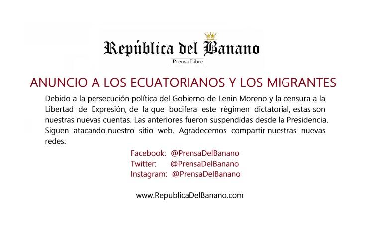 Anuncio a los ecuatorianos sobre el gobierno dictatorial de Lenin Moreno y la Represión a la Libertad de expresión