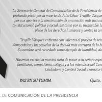 Presidencia de Ecuador utiliza deceso de Trujillo politiqueramente