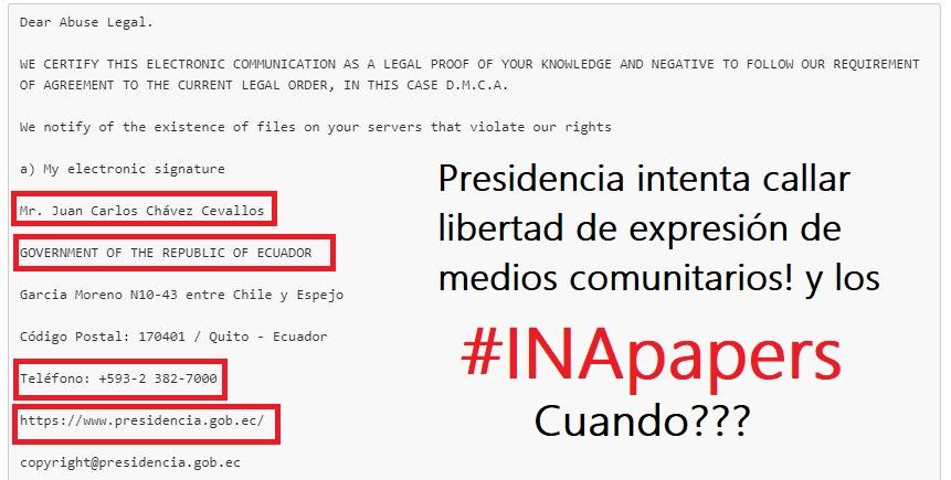 Presidencia de Lenin Moreno intenta utilizar DMCA pra coartar libertad de expresión en Ecuador