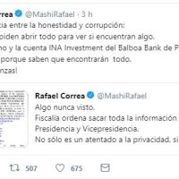 Expresidente Rafael Correa denuncia que la Fiscalía abrirá correos de Presidencia