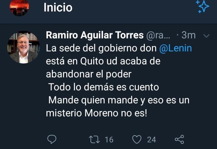 Ramilo Aguilar afirma que Moreno ya no es Presidente de Ecuador