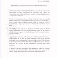 Primer caso de #CoronaVirusEcuador en Quito (Use mascarilla)
