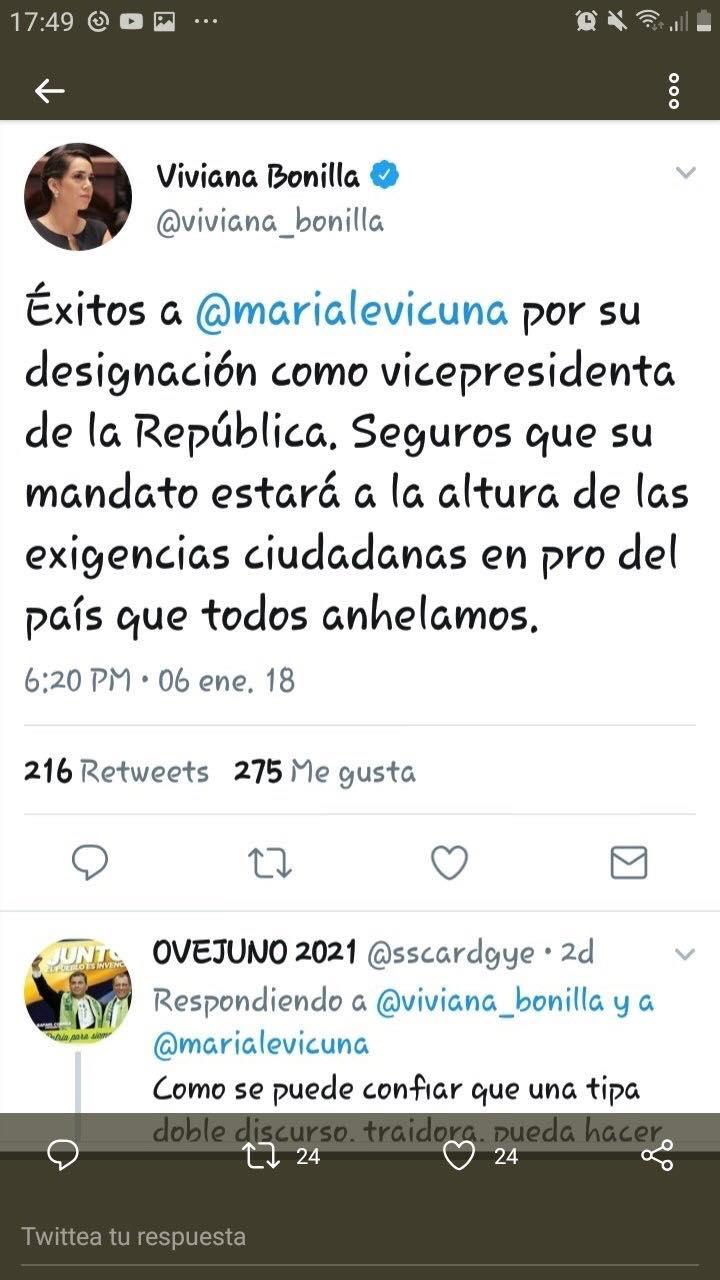Viviana bonilla le desea existos a Maria Alejandra Vicuña