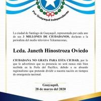 Declaran a la Lcda. Hinostroza, PERSONA NO GRATA para Guayaquil