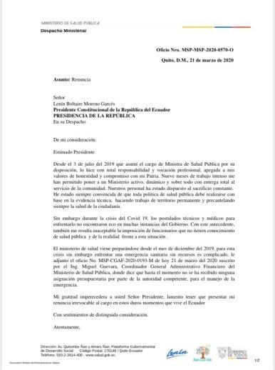 Renuncia de Ministra de Salud