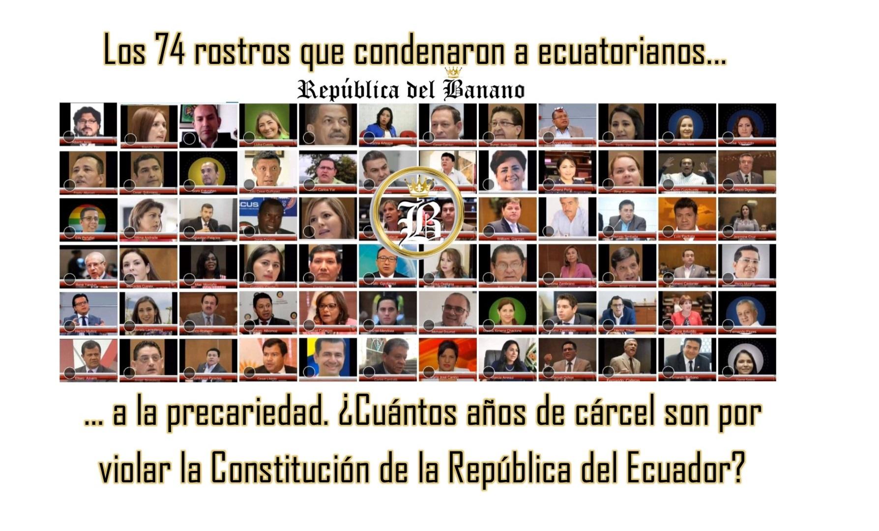 conozca los rostros de los 74 asambleistas que condenaron a ecuatorianos a la ley humanitaria o de esclavitud de moreno y lasso