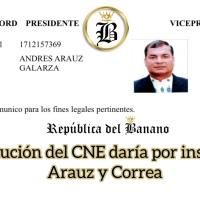 CNE se ajusta a la democracia y notifica la inscripción del binomio Arauz - Correa
