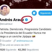 Twitter verifica la cuenta del candidato correísta, Andres Arauz